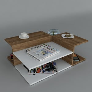 Konferenční stolek Friend Coffee White/Walnut, 95x31,8x75 cm