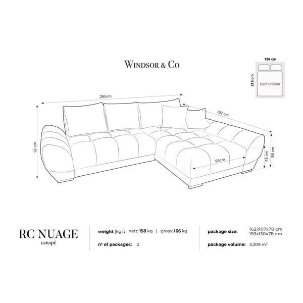 Canapea extensibilă cu înveliș de catifea Windsor & Co Sofas Nuage, pe partea dreaptă, gri