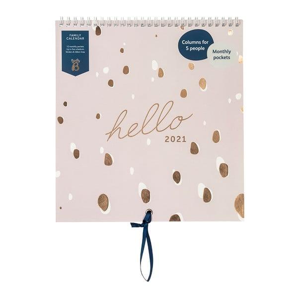 Rodinný růžový kalendář Busy B, 13 stran