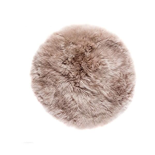 Světle hnědý kulatý z ovčí vlny koberec Royal Dream Zealand,Ø70cm