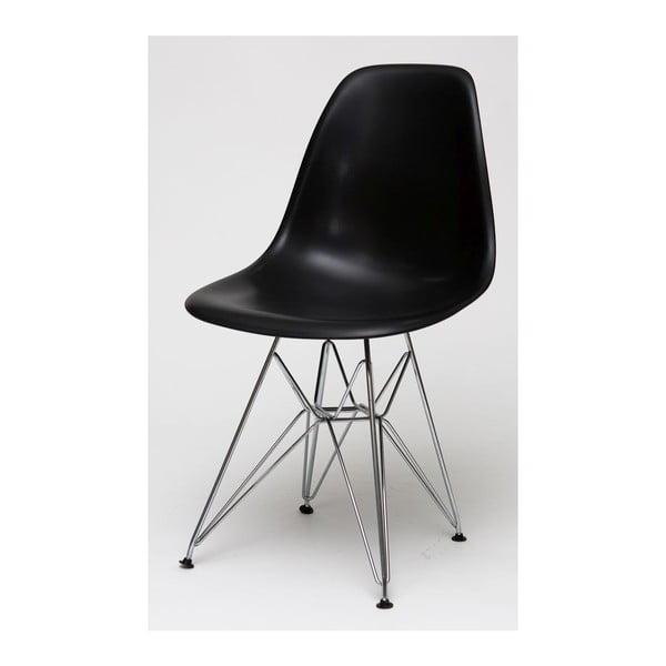 Černá židle, chromové nohy