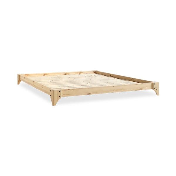 Pat dublu din pin cu saltea Karup Design Elan Comfort Mat Natural/Natural, 200 x 140 cm