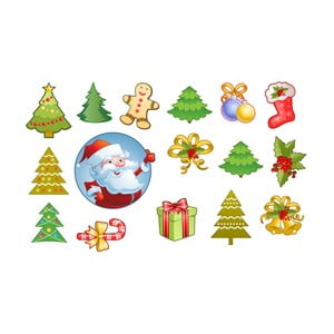 Sada 15 vánočních samolepek Ambiance Santa Claus and his Christmas trees