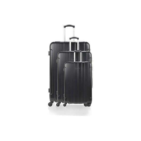 Sada 3 kufrů Roues Cadenas Black, 105 l/72 l/40 l
