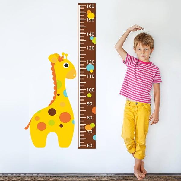 Samolepkový metr na zeď Žirafa s puntíky, 160 cm