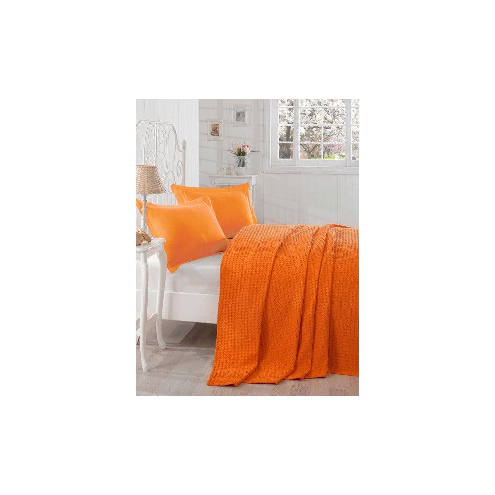 Oranžový lehký přehoz přes postel Boya, 200 x 235 cm