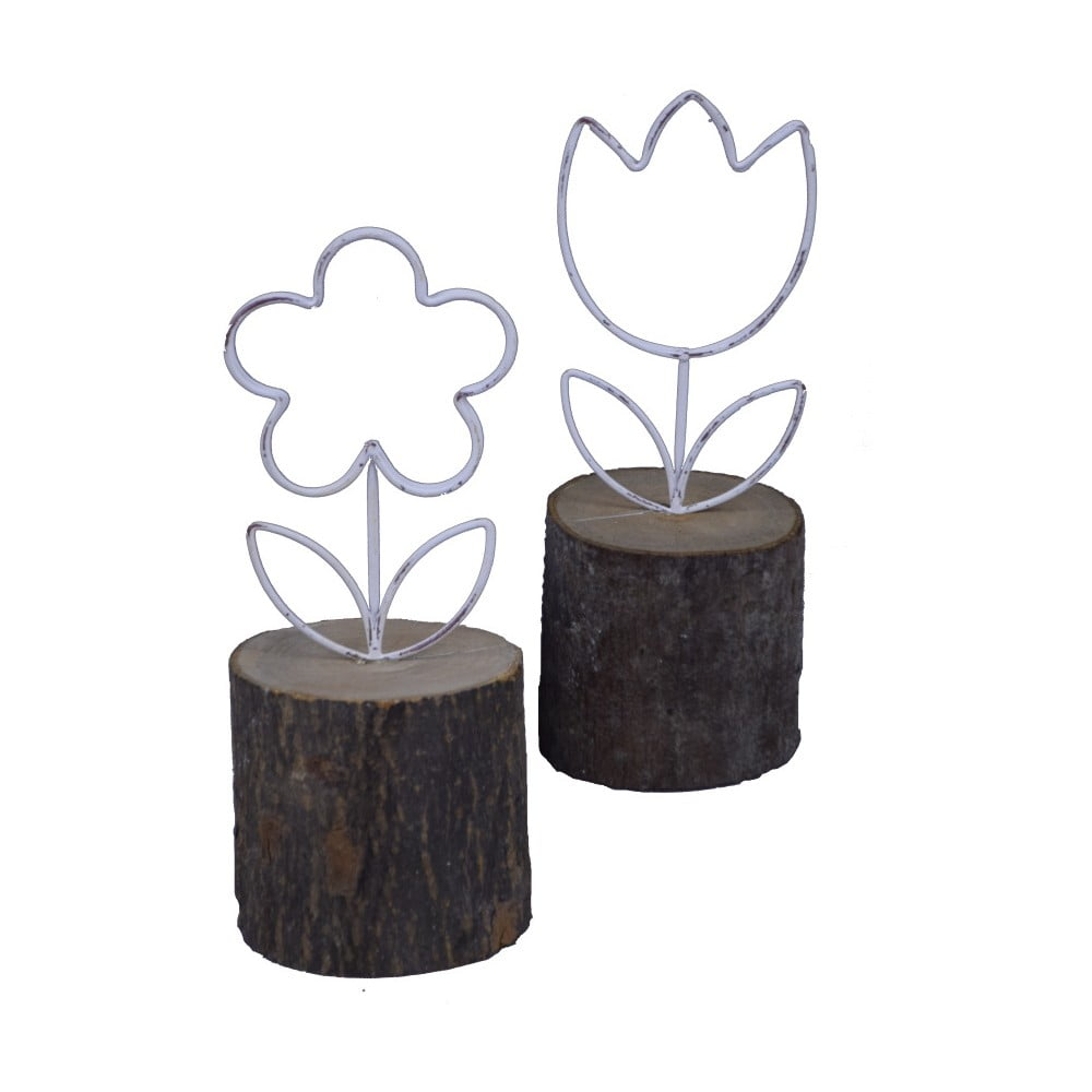 Sada 2 dekorací zasazených do špalku Ego Dekor Květinky