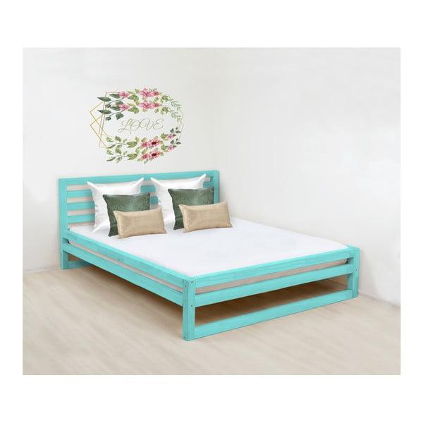 Turkusowe drewniane łóżko 2-osobowe Benlemi DeLuxe, 200x160 cm
