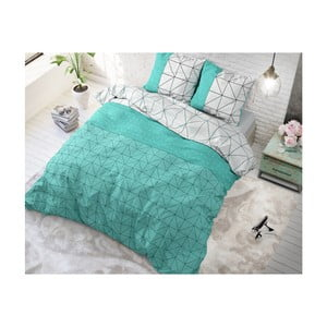 Zeleno-bílé bavlněné povlečení na dvoulůžko Sleeptime Gino,200x220cm