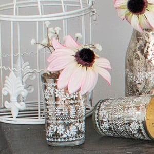 Skleněná váza s umělou květinou Susan, 15 cm