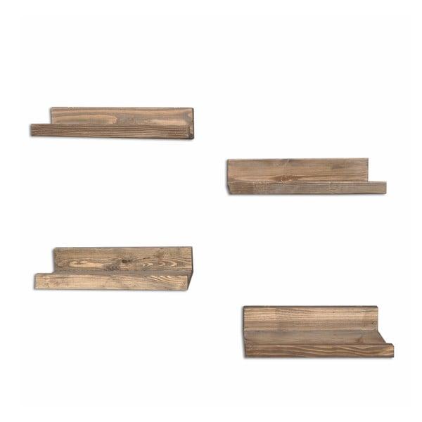 Sada 4 dřevěných nástěnných polic Arena