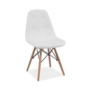Scaun din lemn și piele ecologică Signal Axel, alb