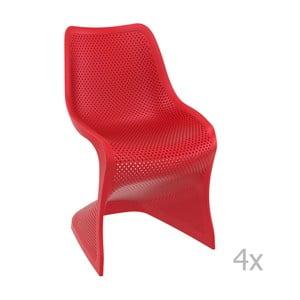 Sada 4 červených zahradních židlí Resol Bloom