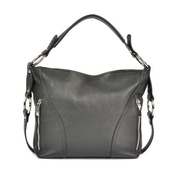 Čierna kožená kabelka Carla Ferreri Eloisa