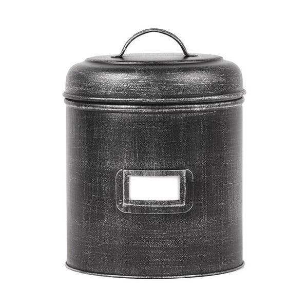 Černá kovová dóza LABEL51, ⌀19,5cm