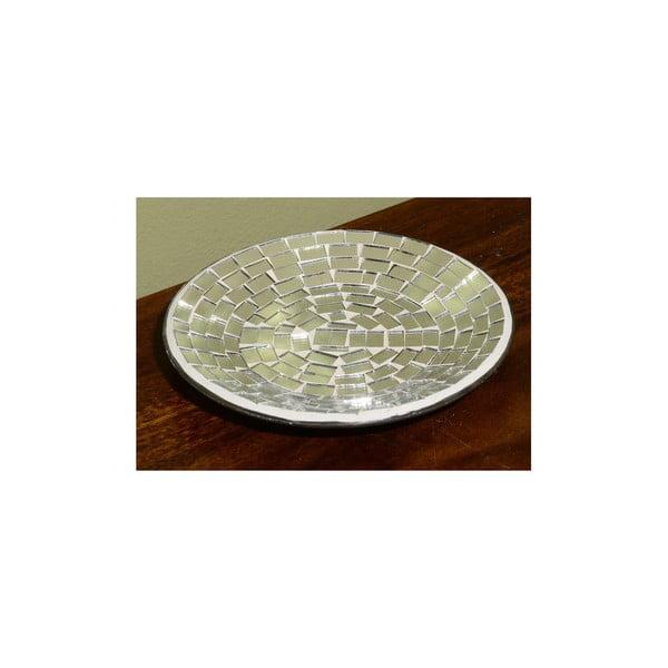 Tác na svíčku ze stříbrné mozaiky Indie