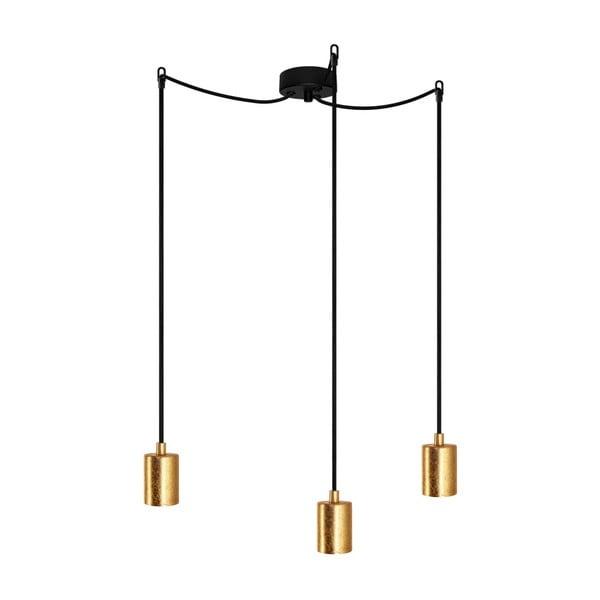 Lampa wisząca z 3 czarnymi kablami i oprawą żarówki w kolorze złota Bulb Attack Cero