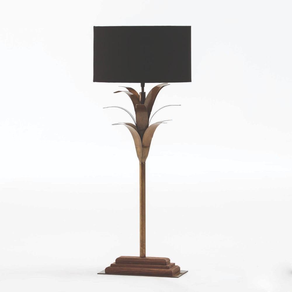 Kovová stolní lampa s černým stínidlem Thai Natura, výška 74cm