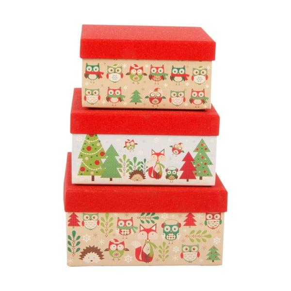 Sada 3 úložných krabic Forest