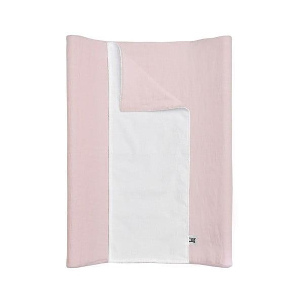 Ružová detská ľanová vodoodolná podložka na prebaľovanie BELLAMY Dusty Pink, 50×70 cm