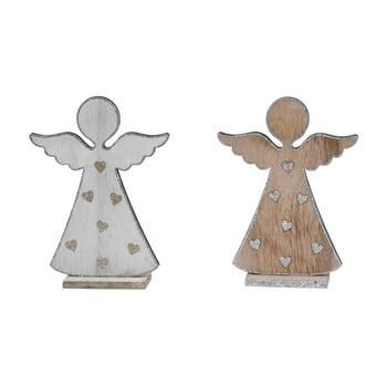 Decorațiune din lemn de Crăciun Ego Dekor Angels, alb-maro imagine