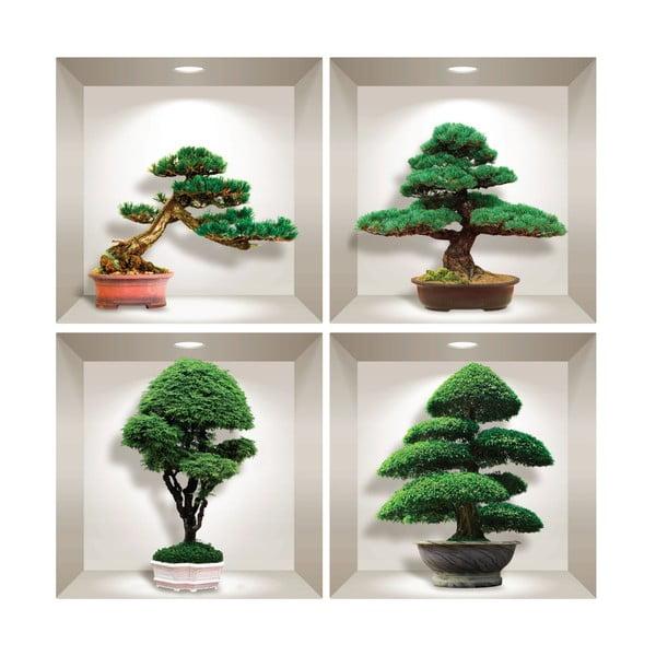 Sada 4 3D samolepek na zeď Ambiance Bonsai Design