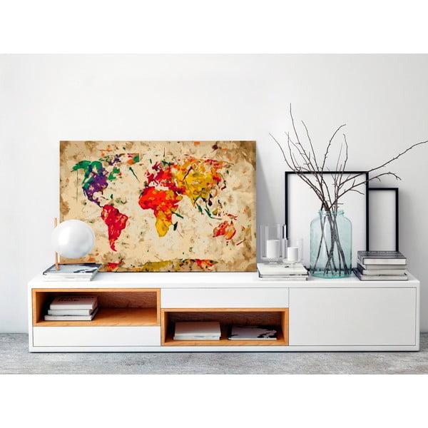DIY set na tvorbu vlastního obrazu na plátně Artgeist Splashes Map, 60x40 cm