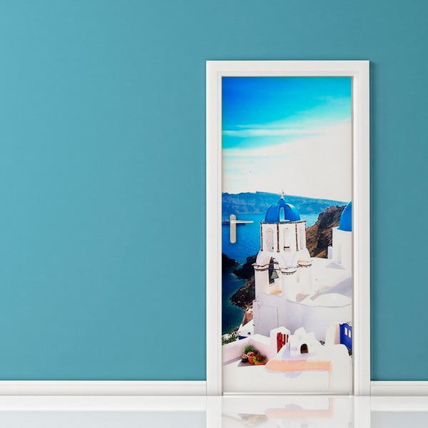 Adhezívna samolepka na dvere Ambiance Santorini, 83 x 204 cm