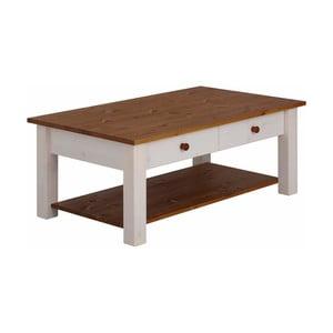 Bílý odkládací stolek z masivního borovicového dřeva s hnědými deskami Støraa Yvonne