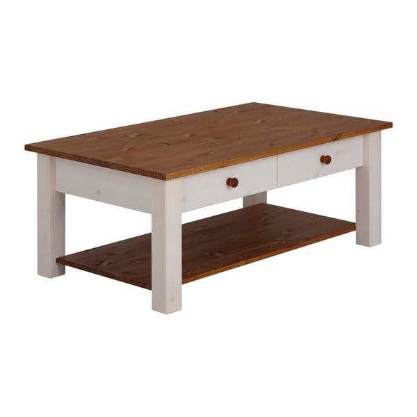 Yvonne fehér, tömör fenyőfa kisasztal barna elemekkel - Støraa