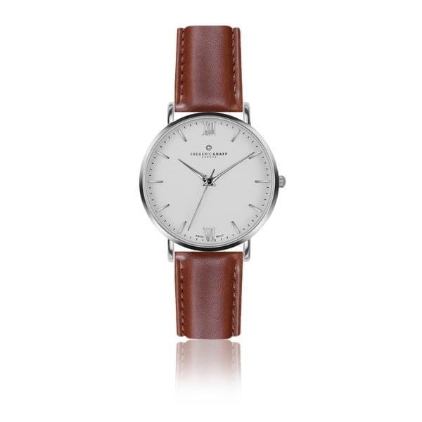 Zegarek męski ze skórzanym paskiem w kolorze koniaku Frederic Graff Silver Dent Blanche Cognac