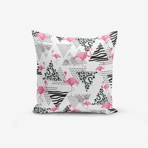 Povlak na polštář s příměsí bavlny Minimalist Cushion Covers With Points Flamingo, 45 x 45 cm