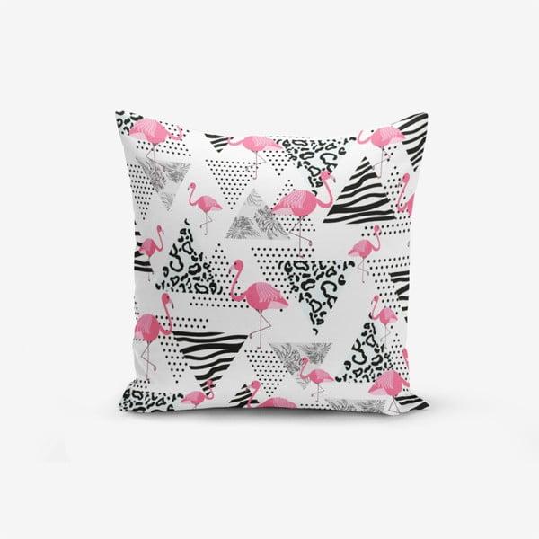Față de pernă cu amestec din bumbac Minimalist Cushion Covers With Points Flamingo, 45 x 45 cm