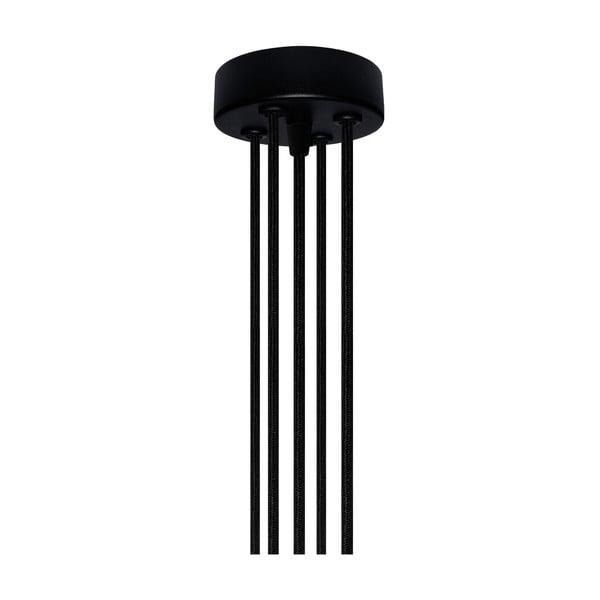 Závěsné svítidlo s 5 černými kabely a stříbrnou objímkou Bulb Attack Uno Unit