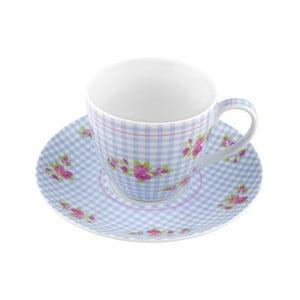Porcelánový šálek s podšálkem Karo, modrý 4 ks