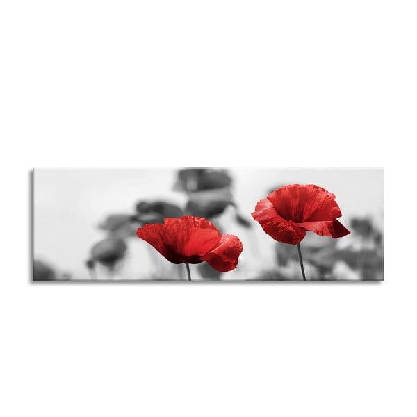 Tablou Styler Glas Red Poppy, 50 x 125 cm