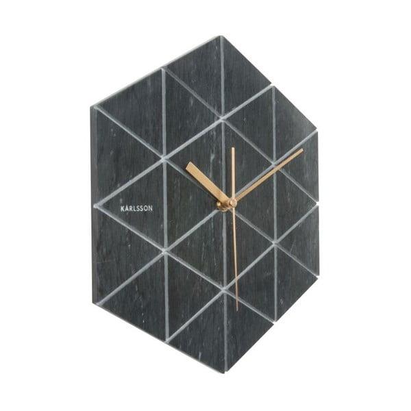 Černé nástěnné hodiny Karlsson Hexagon
