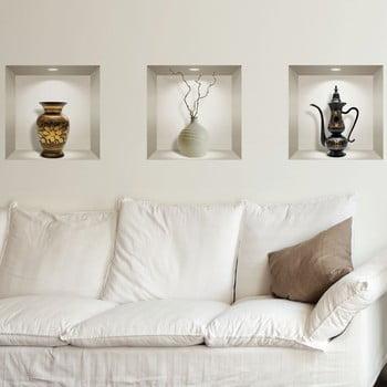 Set 3 autocolante 3D pentru perete Ambiance Decorative Objects