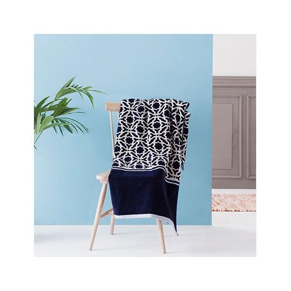 Béžovo-modrá velká bavlněná osuška Casa Di Bassi Iki, 100 x 180 cm