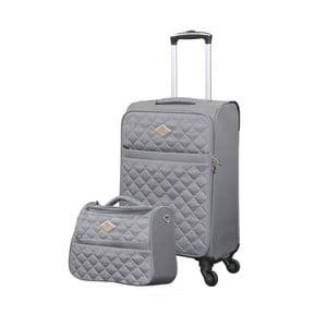 Sada šedého kufru atoaletní tašky GERARD PASQUIER Adventure, 38 l + 16 l