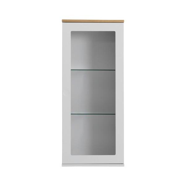 Biała 1-drzwiowa witryna z detalami w dekorze drewna dębowego Tenzo Dot, wys. 95 cm