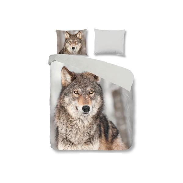 Bavlněné povlečení na jednolůžko Good Morning Wolf, 140x200cm