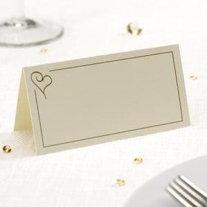 Set 50 carduri masă pentru nume Neviti Simply Love, crem