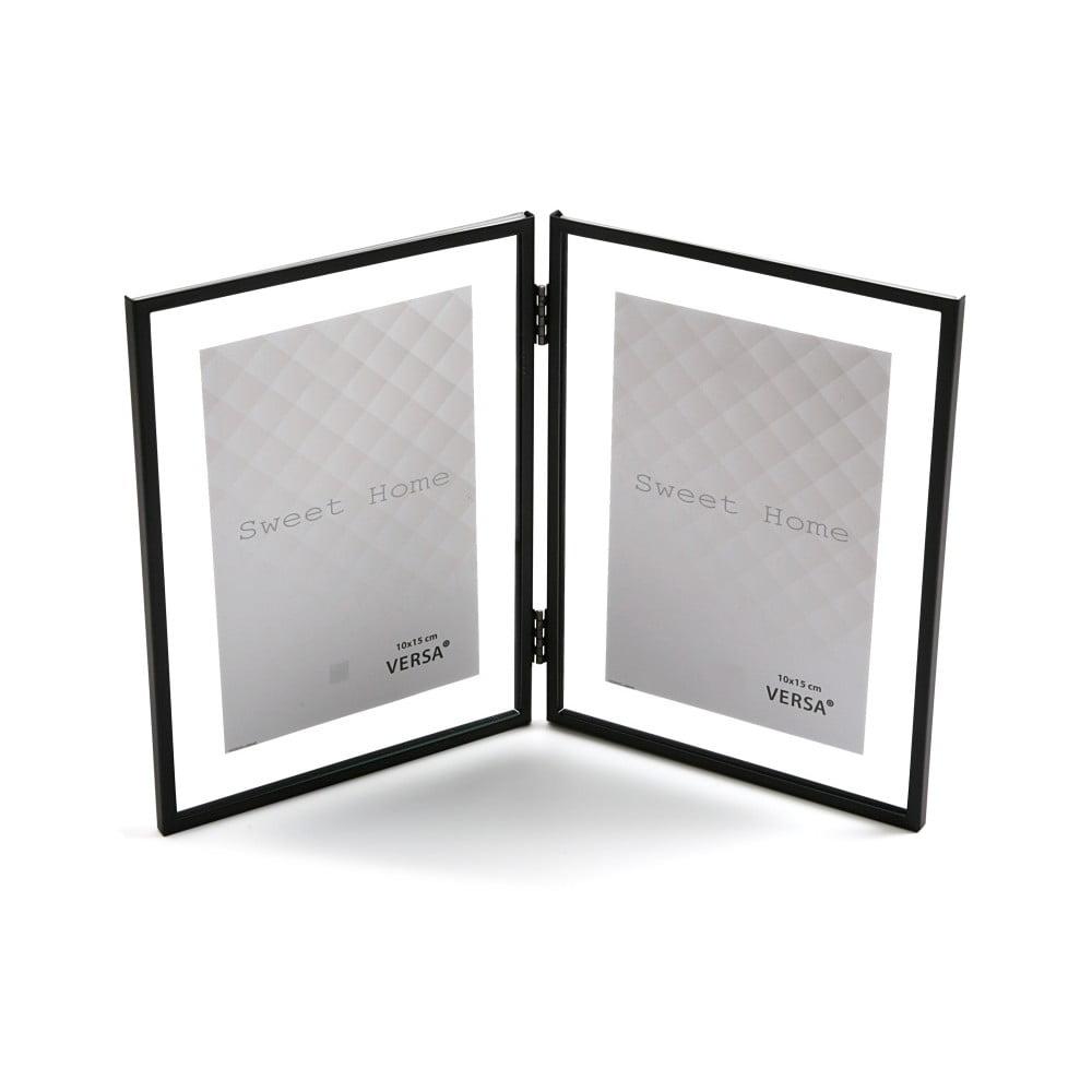 Černý dvojitý fotorámeček VERSA, na fotografii 10 x 15 cm