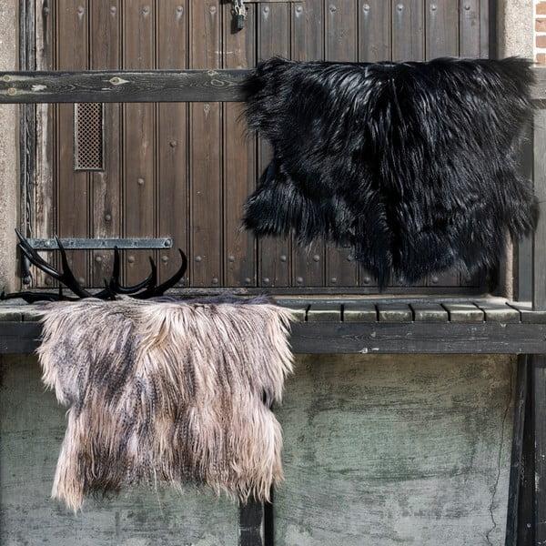 Kožešina z mongolské kozy Taupe, 110x80 cm