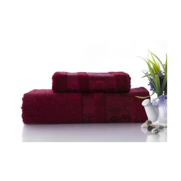 Set dvou ručníků Bamboo Burgundy, 70x140 a 50x90 cm