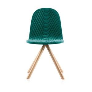 Tyrkysová židle s přírodními nohami IkerMannequinTriagleWave