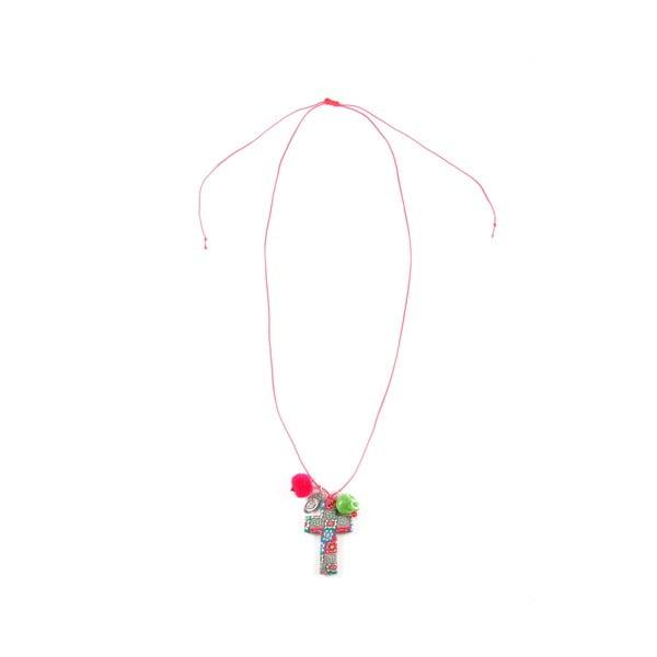 Náhrdelník Mexicana Cross, růžová