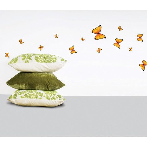 Sada 18 nástěnných samolepek Ambiance Yellow Butterflies Sticker