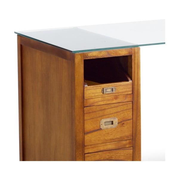 Psací stůl ze dřeva mindi se skleněnou deskou Moycor Star